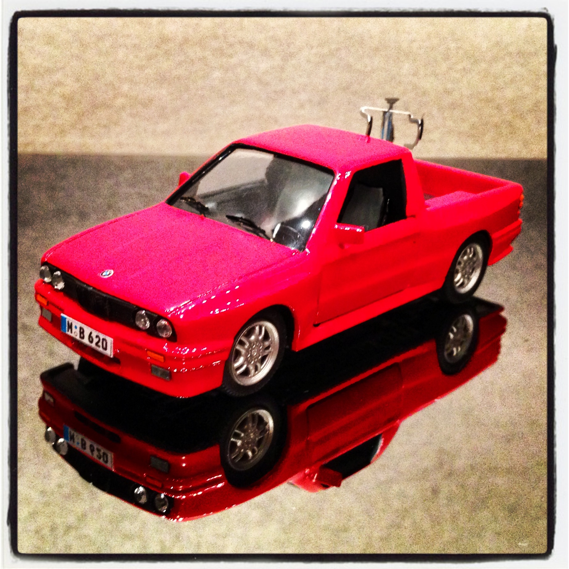 BMW 3 series pick up (E30) with bycicle, red (handmade)